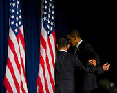 Chicago, IL - December 7, 2008 -- United States President-elect Barack Obama and retired Army General Eric K. Shinseki after announcing Shinseki as veteran's affairs secretary nominee at a news conference in Chicago on Pearl Harbor Day..Credit: Ralf-Finn Hestoft - Pool via CNP