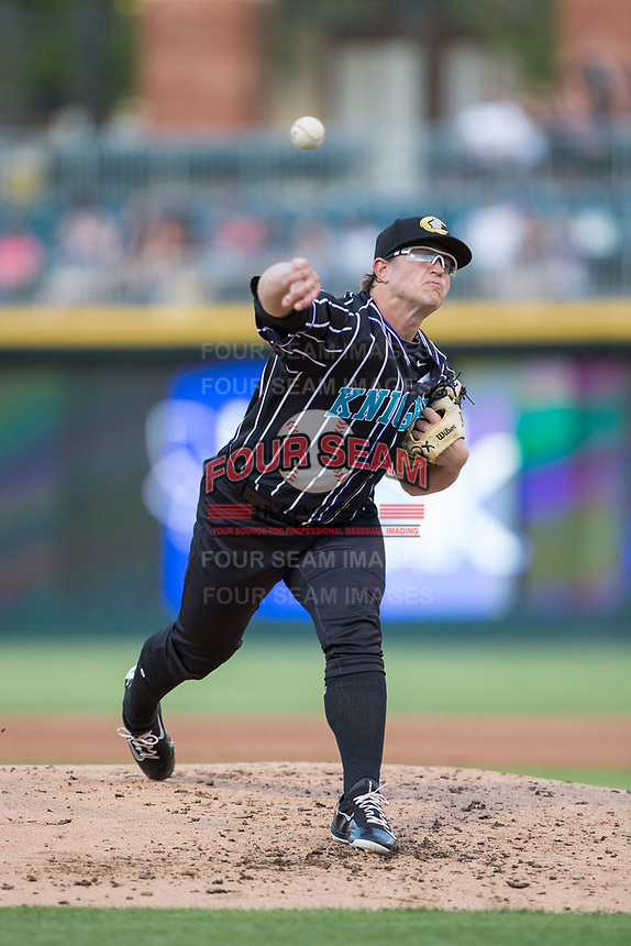 Charlotte Knights starting pitcher Carson Fulmer (28) in action against the Norfolk Tides at BB&T BallPark on May 2, 2017 in Charlotte, North Carolina.  The Knights defeated the Tides 8-3.  (Brian Westerholt/Four Seam Images)