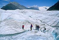 Hiking on the Root glacier, Kennicottt, Wrangell St. Elias National Park, Alaska.