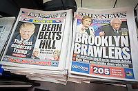 Headlines of the New York Post and New York Daily News on Friday, April 15, 2016 report on the previous day's Democratic debate between presidential contenders Hillary Rodham Clinton and Bernie Sanders. The debate took place in the Brooklyn Navy Yard facility and has been nicknamed the Battle of Brooklyn.  (© Richard B. Levine)