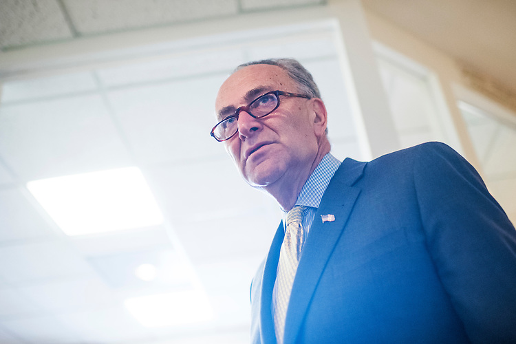 UNITED STATES - MARCH 2: Senate Minority Leader Charles Schumer, D-N.Y., arrives for a news conference in the Capitol on allegations that Attorney General Jeff Sessions did not disclose his contacts with the Russian ambassador when asked during his confirmation hearing, March 2, 2017. (Photo By Tom Williams/CQ Roll Call)