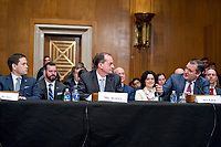 United States Senator Marco Rubio (Republican of Florida), left, and US Senator Ted Cruz (Republican of Texas), right, speak in support of R. Alexander Acosta, Dean of Florida International University College of Law and United States President Donald J. Trump's nominee for US Secretary of Labor, center, during the confirmation hearing before the US Senate Committee on Health, Education, Labor &amp; Pensions on Acosta's nomination Capitol Hill in Washington, DC on Wednesday, March 22, 2017.   <br /> Credit: Ron Sachs / CNP /MediaPunch