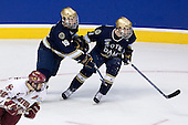 Dan Bertram (BC 22), Ben Ryan (Notre Dame 19), Ryan Thang (Notre Dame 9) - The Boston College Eagles won the NCAA D1 national championship by defeating the University of Notre Dame Fighting Irish 4-1 in the final of the 2008 Frozen Four at the Pepsi Center in Denver, Colorado on Saturday, April 12, 2008.