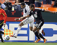 Ethan White (15) of D.C. United clashes with Sean Franklin (5) of the Los Angeles Galaxy during an MLS match at RFK Stadium, on April 9 2011, in Washington D.C.The game ended in a 1-1 tie.