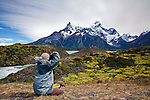 Photographing the beauty of Torres del Paine, Chile.  The Paine River is to the left and Cerro Paine Grande is the mountain in the background.