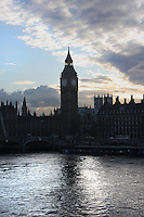 Palace of Westminster, or Houses of Parliament, London, UK, 1840-60, by Sir Charles Barry and Augustus Pugin seen from the River Thames. The Gothic Perpendicular building replaced its predecessor, destroyed by fire, 1834. The 96.3 metre high clock tower is named after its largest bell, Big Ben. Picture by Manuel Cohen