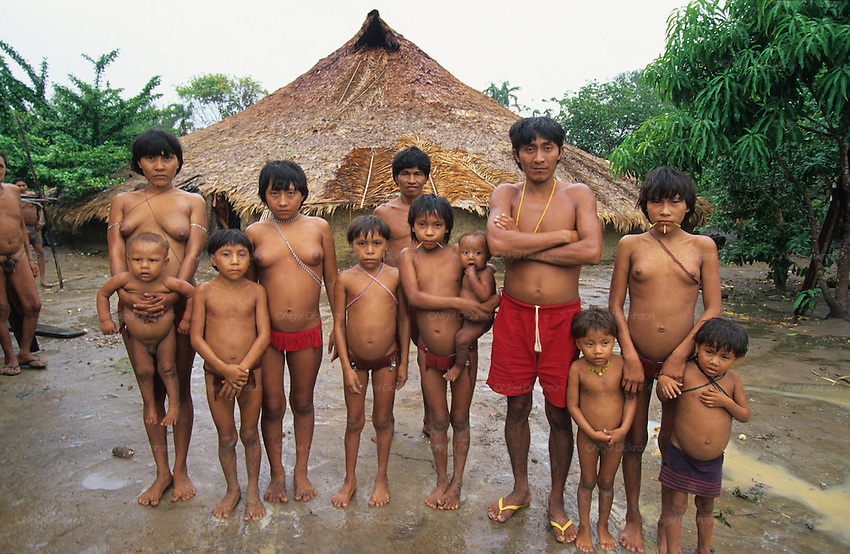 YANOMAMI INDIANS. South America, Brazil, Amazon. Yanomami indians, a primitive tribe, living in the tropical rainforest, in communal traditional molaca dwellings. They are huntergatherers passing on their traditions and skills  from generation to generation. They are the guardians of their forest and its fragile ecosystem. Their lifestyle and their lands diminish every year in the face of encroaching deforestation, forest fires, campesinos who slash and burn primary rainforest, from cattle ranching, commercial plantations, gold and diamond mines.