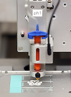 The Vascular and Tissues Systems Bioengineering lab has a new bioprinter used to build structures that house cells allowing them to grow at the University of Virginia in Charlottesville, Va. The bioprinter features two print heads, one for solid materials that create structure and the second used to place cells within that structure with extreme precision. Shayn Peirce-Cottler, Ph.D., Professor of Biomedical Engineering, heads the lab. Photo/Andrew Shurtleff