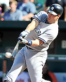 New York Yankees first baseman Mark Teixeira (25) singles in the ninth inning against the Baltimore Orioles at Oriole Park at Camden Yards in Baltimore, Maryland in the first game of a doubleheader on Sunday, August 28, 2011.  The Orioles won the game 2 - 0..Credit: Ron Sachs / CNP.(RESTRICTION: NO New York or New Jersey Newspapers or newspapers within a 75 mile radius of New York City)