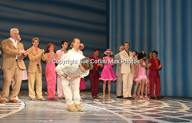Eric William Morris and David Andrew MacDonald and cast  at the curtain call ofBroadway Musical Mama Mia celebrating opening night on September 23, 2009 at the Winter Garden Theater, New York City. NY (Photo by Sue Coflin/Max Photos)