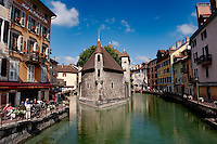 the 12th century Palais de l'Isle jail in Annecy, capital of the Haute-Savoie department (France, 22/06/2010)
