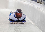8 January 2016: Katie Tannenbaum, competing for the US Virgin Islands, crosses the finish line on her first run of the BMW IBSF World Cup Skeleton race at the Olympic Sports Track in Lake Placid, New York, USA. Mandatory Credit: Ed Wolfstein Photo *** RAW (NEF) Image File Available ***