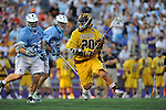 29 MAY 2011:  Matt Cannone (20) of Salisbury University moves the ball during the game against Tufts University during the Division III Men's Lacrosse Championship held at M+T Bank Stadium in Baltimore, MD.  Salisbury defeated Tufts 19-7 for the national title. Larry French/NCAA Photos