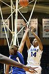 17 November 2012: Duke's Ka'lia Johnson (14) shoots over Presbyterian's Noelle Carter (1). The Duke University Blue Devils played the Presbyterian College Blue Hose at Cameron Indoor Stadium in Durham, North Carolina in an NCAA Division I Women's Basketball game. Duke won the game 84-45.