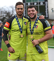 Leicester Tigers&rsquo; Peter Betham and Leicester Tigers&rsquo; Ellis Genge<br /> <br /> Photographer Rachel Holborn/CameraSport<br /> <br /> Anglo-Welsh Cup Final - Exeter Chiefs v Leicester Tigers - Sunday 19th March 2017 - The Stoop - London<br /> <br /> World Copyright &copy; 2017 CameraSport. All rights reserved. 43 Linden Ave. Countesthorpe. Leicester. England. LE8 5PG - Tel: +44 (0) 116 277 4147 - admin@camerasport.com - www.camerasport.com