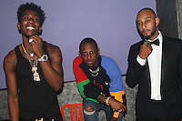 NEW YORK, NY - SEPTEMBER 7, 2016 Desiigner, Fabolous & Swizz Beatz backstage at the G.O.O.D. Music show September 7, 2016 at the Highline Ballroon in New York City. Photo Credit: Walik Goshorn / Mediapunch