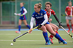 GER - Mannheim, Germany, April 22: During the German Hockey Bundesliga women match between Mannheimer HC (blue) and Club an der Alster (red) on April 22, 2017 at Am Neckarkanal in Mannheim, Germany. Final score 1-1 (HT 1-0).  Nike Lorenz #16 of Mannheimer HC, Mieketine Hayn #4 of Club an der Alster<br /> <br /> Foto &copy; PIX-Sportfotos *** Foto ist honorarpflichtig! *** Auf Anfrage in hoeherer Qualitaet/Aufloesung. Belegexemplar erbeten. Veroeffentlichung ausschliesslich fuer journalistisch-publizistische Zwecke. For editorial use only.