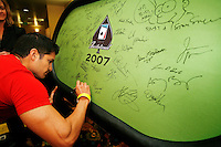 3 March 2007: Celebrity actor Nicholas Gonzalez signs the green velvet table as he  arrives at the World Poker Tour Invitational for the fifth annual tournament at the Commerce Casino in Los Angeles, CA.