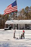 December 28, 2010. Chapel Hill, NC.. A roadside memorial to the troops, Mt. Carmel Church Road, Chapel Hill, NC.