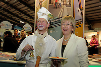 NO FEE PICTURES.28/1/11 Minister Mary Hanafin with Barney the Titanic Chef at the launch of the Holiday World Show at the RDS, Dublin, which runs from Friday 28th untill Sunday 30th January. Picture: Arthur Carron/Collins