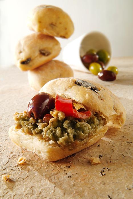 Olive tapinade on mini chiabatta bread rolls