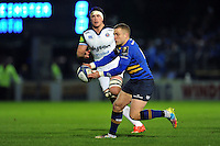 Ian Madigan of Leinster Rugby passes the ball. European Rugby Champions Cup match, between Leinster Rugby and Bath Rugby on January 16, 2016 at the RDS Arena in Dublin, Republic of Ireland. Photo by: Patrick Khachfe / Onside Images