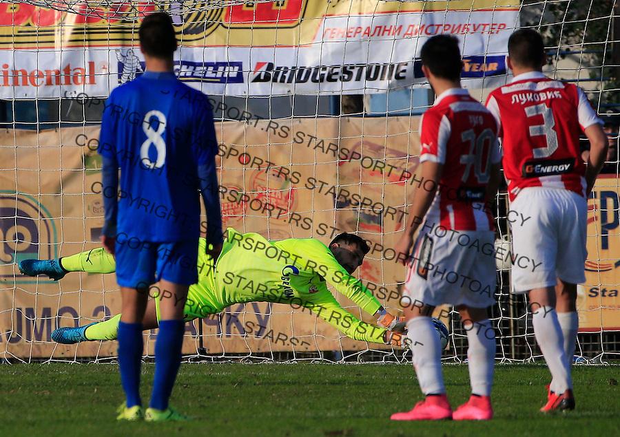 Fudbal Kup Srbije season 2015-2016<br /> Backa v Crvena Zvezda<br /> goalkeeper Damir Kahriman saves the goal<br /> Backa Palanka, 28.10.2015.<br /> foto: Srdjan Stevanovic/Starsportphoto&copy;