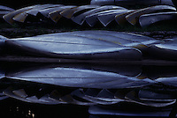 Canoes are mirrored reflections in the still black waters of the Okefenokee National Wildlife Refuge. <br />