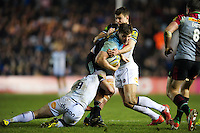Harry Sloan of Harlequins is double-tackled. Aviva Premiership match, between Harlequins and Bath Rugby on March 11, 2016 at the Twickenham Stoop in London, England. Photo by: Patrick Khachfe / Onside Images