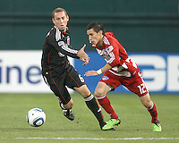 Kurt Morsink #6 of D.C. United holds up Eric Avila #12 of F.C. Dallas during a US Open Cup match on April 28 2010, at RFK Stadium in Washington D.C. United won 4-2.