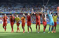 FUSSBALL WM 2014  VORRUNDE    Gruppe H     Belgien - Algerien                       17.06.2014 Die belgische Mannschaft jubelt nach dem Abpfiff