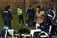Colombian Reinaldo Rueda (2nd-L), coach of Ecuador attends a practice at the Monclair University, ahead of their friendly match against Argentina in New Jersey, Nov 14, 2013. VIEWpress/Eduardo Munoz Alvarez