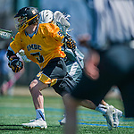 16 April 2016: University of Maryland, Baltimore County Retriever Attacker Max Maxwell, a Junior from Hamburg, NY, in action against the University of Vermont Catamounts at Virtue Field in Burlington, Vermont. The Retrievers fell to the Catamounts 14-10 in NCAA Division I play. Mandatory Credit: Ed Wolfstein Photo *** RAW (NEF) Image File Available ***