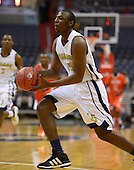 March 11, 2013  (Washington, DC)  Brandon Boykin #15, of the Ballou Knights, drives down the court during the inaugural D.C. State Athletics Championship at the Verizon Center March 11, 2013. The Coolidge Knights won 69-47.  (Photo by Don Baxter/Media Images International)
