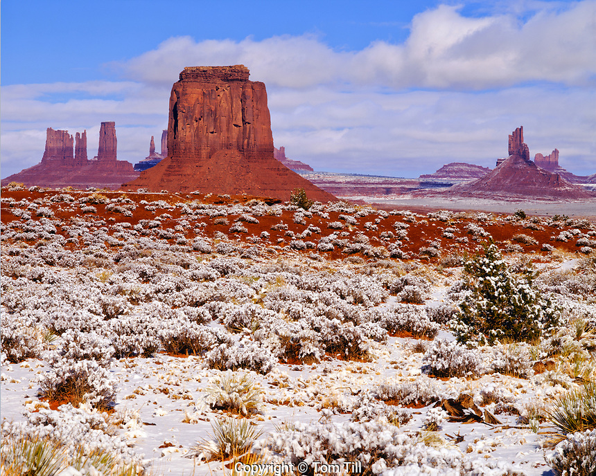 Fresh snow and monuments, Monument Valley Tribal Park, Utah/Arizona, Monument Valley, Afternoon, Nvajo Reservation, De Chelly Sandstone