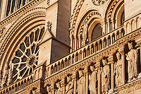 The Kings? Gallery, row of 28 statues representing 28 generations of kings of Judah, restored by Viollet-le-Duc with the help of Geoffroi-Dechaume?s workshop in the 19th century; Virgin gallery, West façade, Notre Dame de Paris, 1163 ? 1345, initiated by the bishop Maurice de Sully, Ile de la Cité, Paris, France. Picture by Manuel Cohen