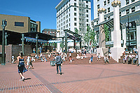 Portland: Pioneer Courthouse Square, looking NW. Thie square is surrounded by early 20th century white terra cotta office bldgs. & department stores.  Photo '86.
