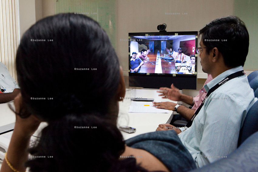video conference room, KPN company, Getronics, has off shored multiple business units to the Indian company, Mind Tree in Bangalore, the 'Silicon Valley of India', in the state of Karnataka, India. Photo by Suzanne Lee for Hollandse Hoogte.