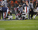 Ole Miss' Kentrell Lockett (40) recovers an Auburn fumble in the second quarter at Jordan-Hare Stadium in Auburn, Ala. on Saturday, October 29, 2011. .
