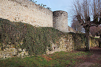 Ramparts and the Tour du Tresor or Treasury tower, 13th century, at the medieval castle of Chateau-Thierry, Picardy, France. The first fortifications on this spur over the river Marne date from the 4th century and the first castle was built in the 9th century Merovingian period by the counts of Vermandois. Thibaud II enlarged the castle in the 12th century and built the Tour Thibaud, and Thibaud IV expanded it significantly in the 13th century to include 17 defensive towers in the walls and an East and South gate. The castle was largely destroyed in the French Revolution after having been a royal palace since 1285. In 1814 it was used as a citadel for Napoleonic troops. Picture by Manuel Cohen