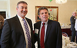 TORRINGTON CT. 20 April 2017-042017SV03-From left, Lance Leifert, CEO of Conquest, and Alan Colavecchio, president and owner of Colavecchio Design Inc. were inducted in the Chamber Hall of Fame during the Northwest Connecticut Chamber of Commerce annual meeting in Torrington Thursday.<br /> Steven Valenti Republican-American