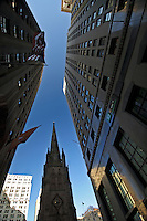Trinity Church (Episcopal) and Wall Street Looking up, New York City, New York, designed by Richard Upjohn, 1846