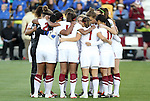 02 December 2011: Stanford's starters huddle before the game. The Stanford University Cardinal defeated the Florida State University Seminoles 3-0 at KSU Soccer Stadium in Kennesaw, Georgia in an NCAA Division I Women's Soccer College Cup semifinal game.