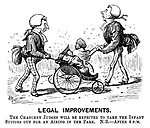 Legal Improvements. The Chancery judges will be expected to take the infant suitors out for an airing in the park. NB.- after 4 pm. (a Victorian cartoon shows judges walking babies in their prams)