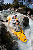 RAMAZZA Michele (Italy). Kayak downhill race in the Brandseth river. The Extremesport Week, Ekstremsportveko, is the worlds largest gathering of adrenalin junkies. In the small town of Voss enthusiasts in a varitety of extreme sports come togheter every summer to compete and play. Norway.  &copy;Fredrik Naumann/Felix Features.