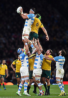 Pablo Matera of Argentina wins the ball at a lineout. Rugby World Cup Semi Final between Argentina v Australia on October 25, 2015 at Twickenham Stadium in London, England. Photo by: Patrick Khachfe / Onside Images