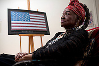 """ENGLEWOOD, NJ - June 07, 2013 : Civil rights political artist Faith Ringgold, 82, in her studio at her home in Englewood, NJ on June 07, 2013. Faith Ringgold was one of the leaders of the Black Arts Movement of the 1960's, gaining worldwide prominence for her quilts. """"American People, Black Light: Faith Ringgold's Paintings of the 1960's"""" is a retrospective of race, reconciliation, activism and feminism, from one of the most tumultuous periods in American history."""