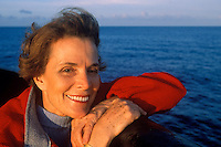 Dr. Sylvia Earle sits on board a commercial vessel in the Gulf of Mexico.