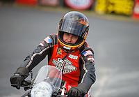 Sep 18, 2016; Concord, NC, USA; NHRA pro stock motorcycle rider Andrew Hines during the Carolina Nationals at zMax Dragway. Mandatory Credit: Mark J. Rebilas-USA TODAY Sports
