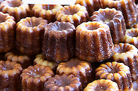 On a street market. On a street market. Caneles cakes. Bordeaux city, Aquitaine, Gironde, France